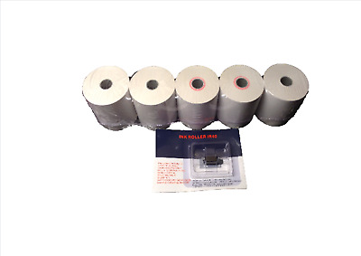 5X Sharp XE-A102 Single Ply Paper Till Rolls With 1x Ink Roller