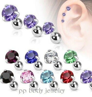 1PC. Prong Set Round C.Z. Surgical Steel Helix Cartilage Tragus Piercing Barbell
