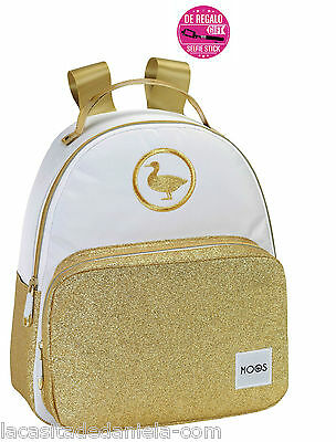 MOOS GOLD Mochila pequeña blanco y purpurina oro + stick selfie /small ruckpack