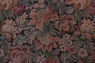 Beautiful Antique French 19thC Floral Tapestry Fabric Textile~Woven Jacquard