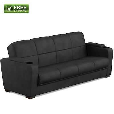 CONVERTIBLE SOFA BED Couch Black Microfiber Storage Arm Full Size Bed  Furniture