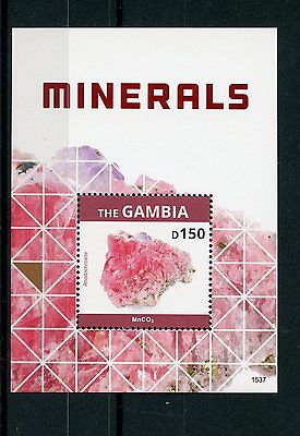 Gambia 2015 MNH Minerals 1v S/S Rhodochrosite Crystals Stamps