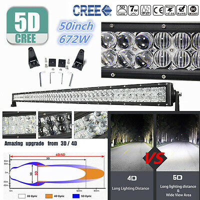 "CREE 672W 50""INCH 5D LED Combo Work Light Bar Offroad Driving Lamp 4WD Truck SUV"