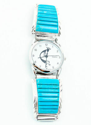 Navajo Men's Silver Turquoise Inlay Watch