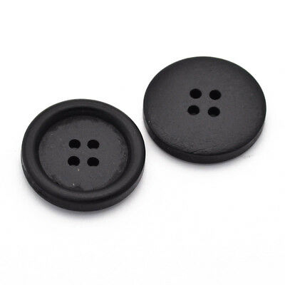 Packet 5 x Black Wood 25mm Round 4-Holed Sew On Buttons HA11070
