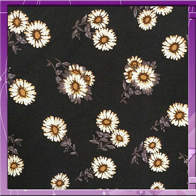100% Rayon challis Black background w small flowers Fabric by the yard