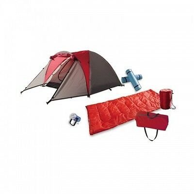 2 Person Camping Gear Set 7 Pieces by Barton Outdoors W/ 2 sleeping Bags Red