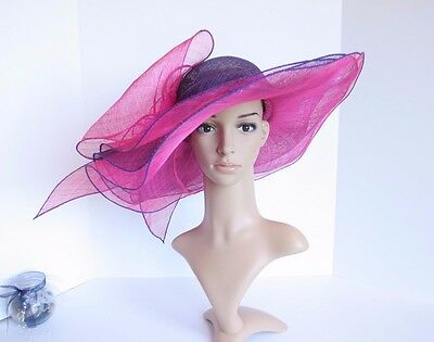NEW Woman Church Derby Wedding 3 Layers Sinamay Wide Hat Fuschia/Purple 5028