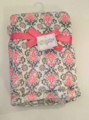Baby Gear Girl Damask Blanket Layette 30x40 Super Soft Pink Grey Gray