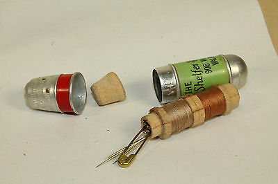 Valoosta Ga Old Sewing Thimble Kit & Tiny Thread Spools Shelfer House Of Music