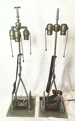 Pair Of Vintage 20s 30s Metal Industrial Stirrup Desk Western Table Horse Lamps