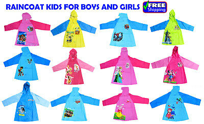 New Size 3-8 Kids Raincoat Jacket Hoddie Cover Boys Girls Rain Weather Heroes