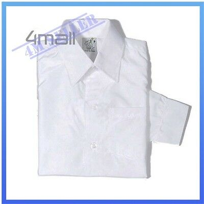 Boys Kids Girls White Black Long Sleeve Formal & Casual School Wedding Shirt Sz