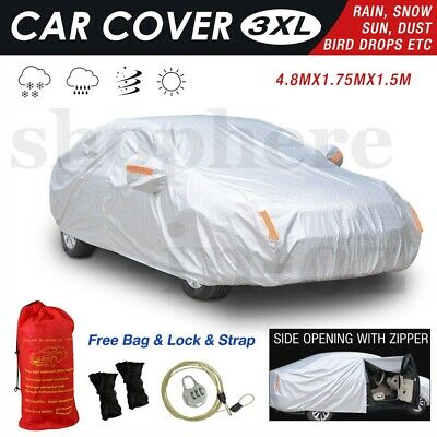 3XL Car Cover Aluminum 3 Layer Double Thick Waterproof Resist UV Dust Protection