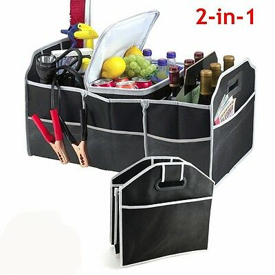 2-In-1 Heavy Duty Collapsible Car Boot Organiser Foldable Storage Shopping Tidy