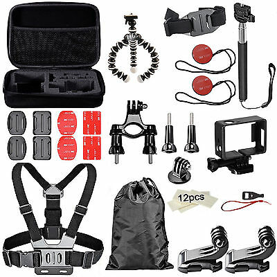 38 in 1 Accessories Set Kit for GoPro Hero 2 3 3+ 4 SJCAM Tripod Chest Pole Case