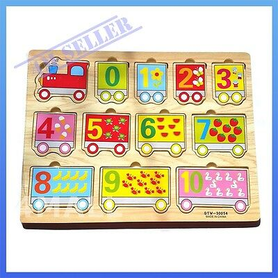 Kids Girls Boys Educational Wooden Puzzle Jigsaw Toy Gift Counting Numbers Train