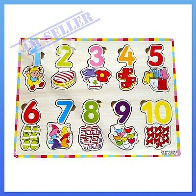 Kids Girls Boys Educational Wooden Puzzle Jigsaw Toy Xmas Gift Counting Clothing