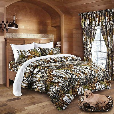 7 Pc Regal Comfort White Camo Comforter Sheets Pillow Cases Camouflage Full