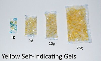 1g or 5g SELF INDICATING -  Silica Gel Desiccant Sachets - Moisture Absorber