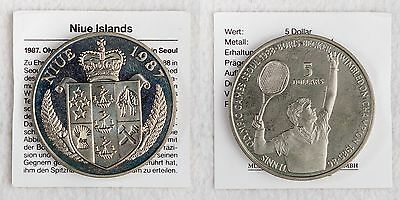 5 Dollar 1987 Niue Island Boris Becker - Neusilber  28,6g 38mm