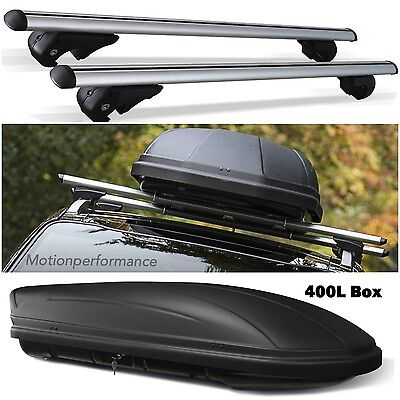 M-Way Aluminium Lockable Car Roof Rack Rail Bars & 400L Travel Box for Ford Kuga