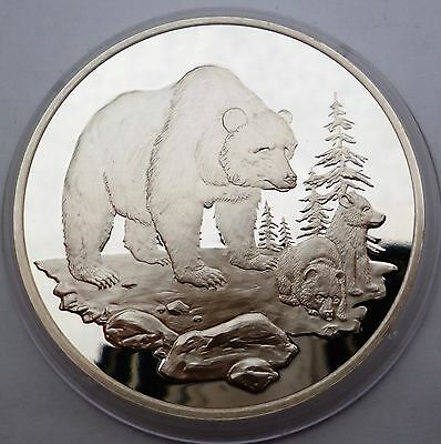 USA Silver Proof Medal North American Wildlife Foundation Grizzly Bear Rare !