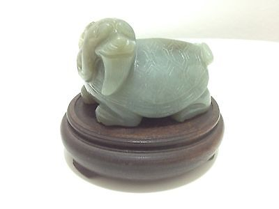 Antique Chinese Old Stone Carved Turtle Statue With Red Wood Stand 19Th Century