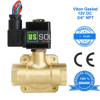 "U.S. Solid 3/4"" Brass Electric Solenoid Valve 12V DC Normally Closed VITON"