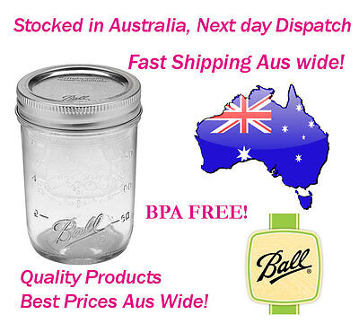 Ball Mason 8oz Half Pint 250ml Regular Mouth Preserving Jars and Lids Box of 12!