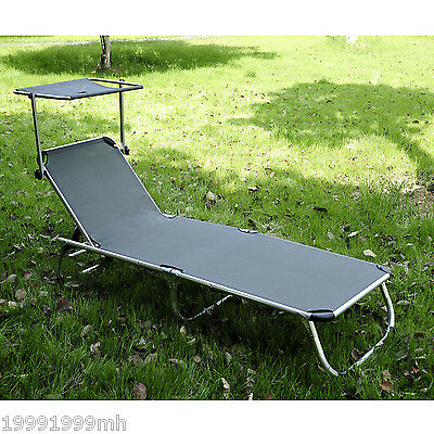 Outsunny Patio Lounge Chair Chaise Outdoor Garden Furniture Sun Lounger w/Canopy