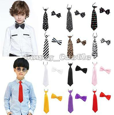 New Kids Boys 2PCS Wedding Birthday Party Solid Satin Adjustable Bow Tie Necktie