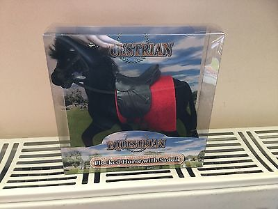"""Toy Play Horse Equestrian Flocked Horse with Saddle in black 6"""" new boxed"""
