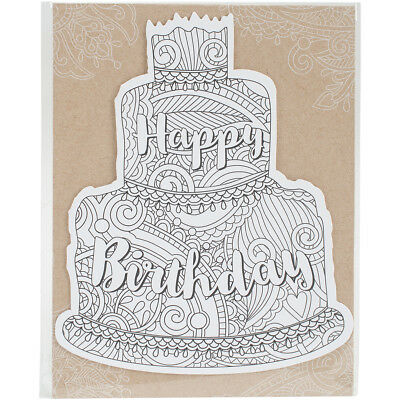 "Diecut Coloring Card W/5.25""X7.25"" Envelope Birthday Cake PHCDC-1005"