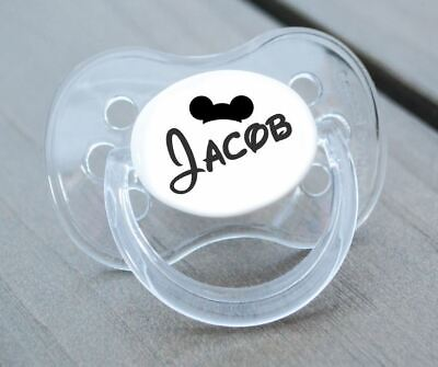 Personalised Dummy Pacifier Soother, All Teats,sizes & Colours, Cartoon Font Boy