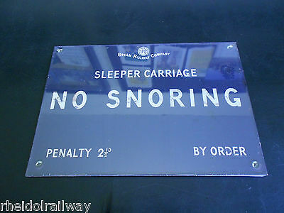 No Snoring Sign Enamel effect railway style  Harvey Makin humour