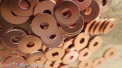 50 x SOLID COPPER WASHERS 6g COPPER HOSE WASHERS FLAT 4.05mm x 13.5mm