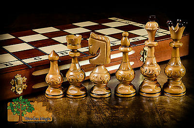 SALVATOR - Large 54cm / 21.5in Handcrafted Wooden Chess Set Cherry Tree