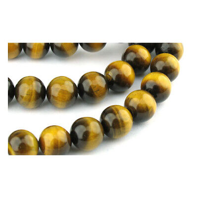 Packet of 6 x Yellow/Brown Tiger Eye 8mm Plain Round Beads VP1075