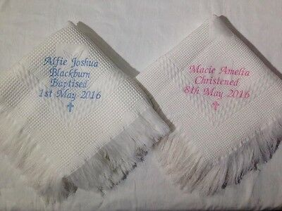 Personalised embroidered christening / baptism / naming day shawl blanket