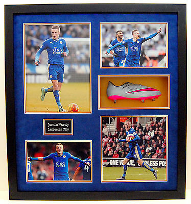 Leicester City Hand Signed Jamie Vardy Framed Football Boot Champions 2015/2016.