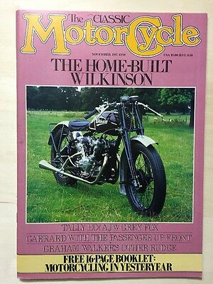 The Classic Motorcycle, November 1987 in very good condition with insert