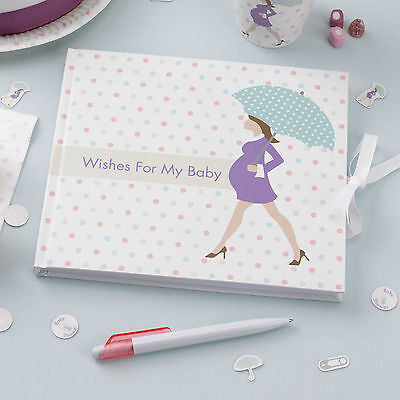 BABY SHOWER GUEST BOOK Showered with Love Mum to Be Party Pregnancy Polka Dot