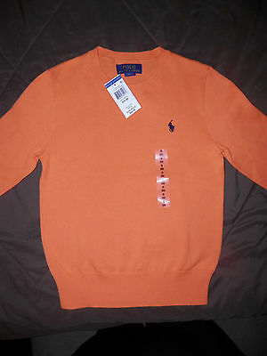 """NWT--Boys Long Sleeve Crew Neck POLO By RALPH LAUREN Sweater-""""Hot Coral""""--0429"""