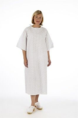 2x Unisex PATIENT GOWN, Reusable Wrap Around Style - Hospital Night Dress, 0
