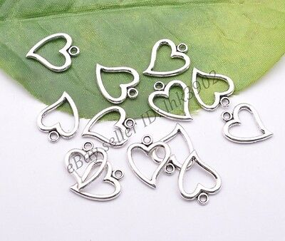 10/30/50Pcs Retro Style Tibet Silver Lovely Heart Charms Pendant Jewelry Finding