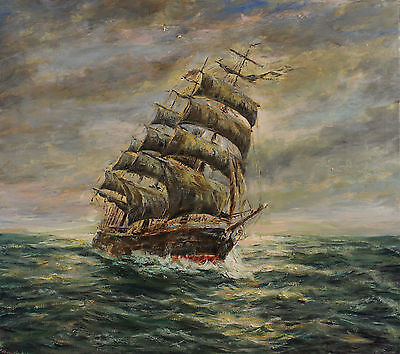 Signed Hendriksen dated 42 - Sailing ship on high Lake Before the Wind