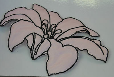 PALE PINK LILY FLOWER Embroidered Iron Sew On Cloth Patch Badge  APPLIQUE