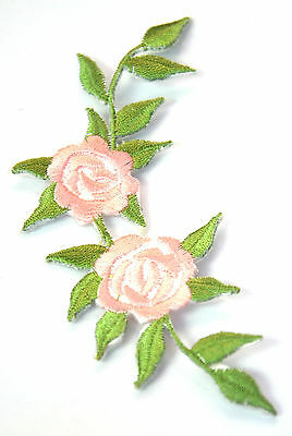PALE PINK ROSES FLOWER Embroidered Iron Sew On Cloth Patch Badge  APPLIQUE