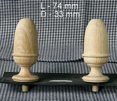 2 Wood FINIALS 74 mm for Antique Wall Clock / Barometer / Mirror / Furniture #11